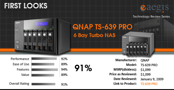 QNAP TS-639 PRO Turbo NAS eAegis Product Review